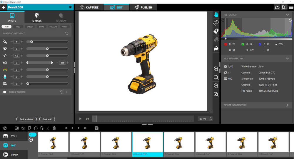 360 product photography software - Orbitvu Station