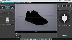 Light the background - software for 360 image - black sport shoe